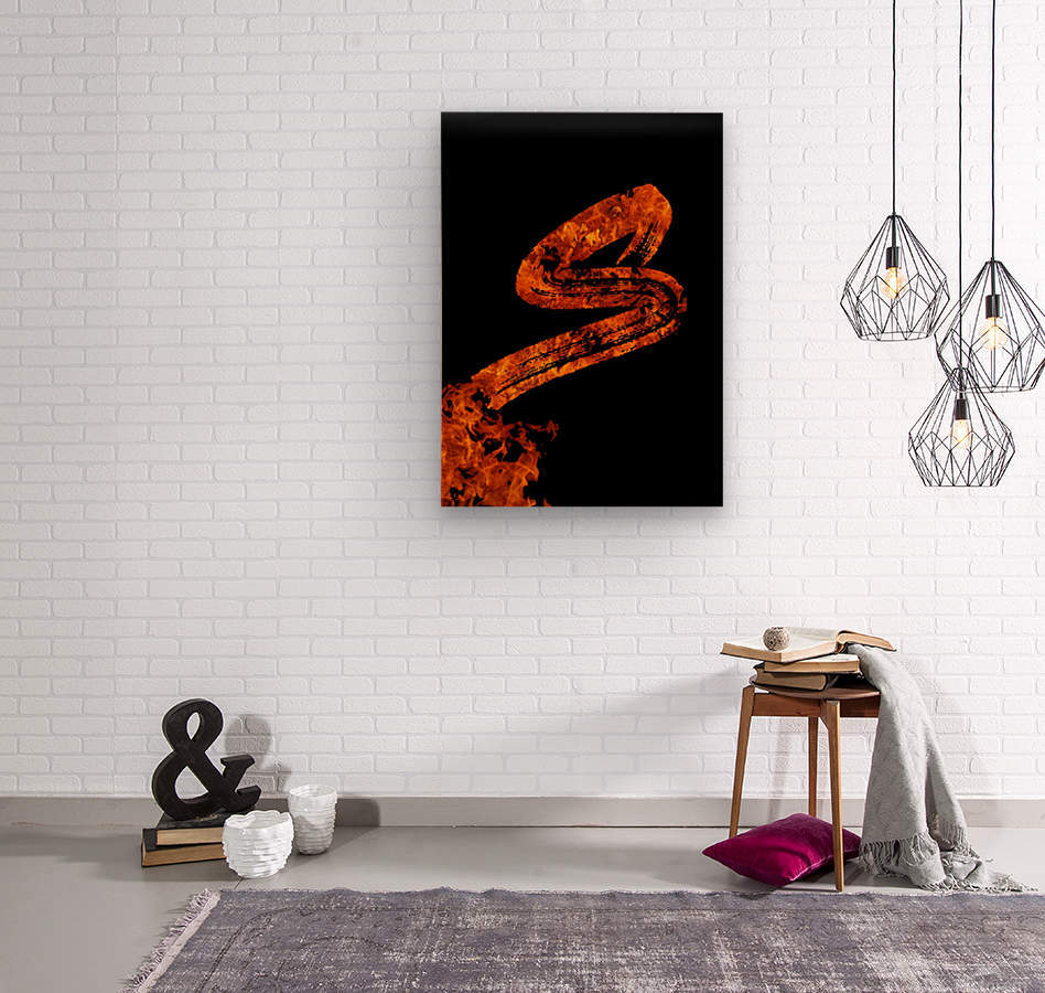 Burning on Fire Letter S  Wood print