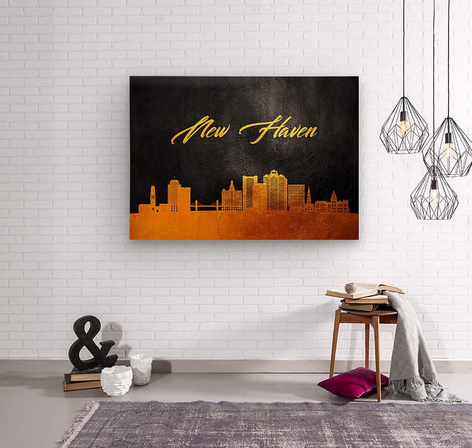 New Haven Connecticut Skyline Wall Art  Wood print