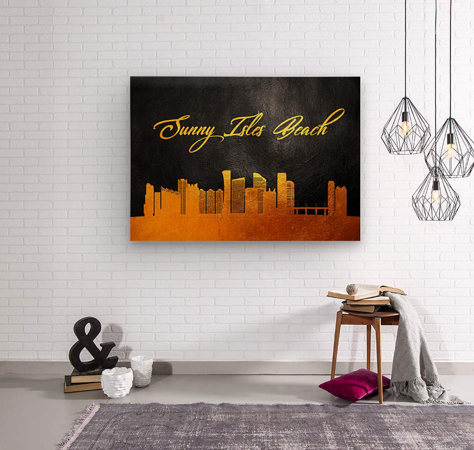 Sunny Isles Beach Florida Skyline Wall Art  Wood print