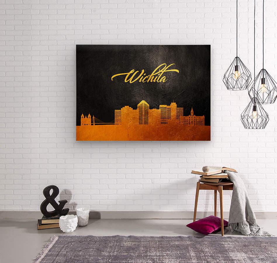 Wichita Kansas Skyline Wall Art  Wood print
