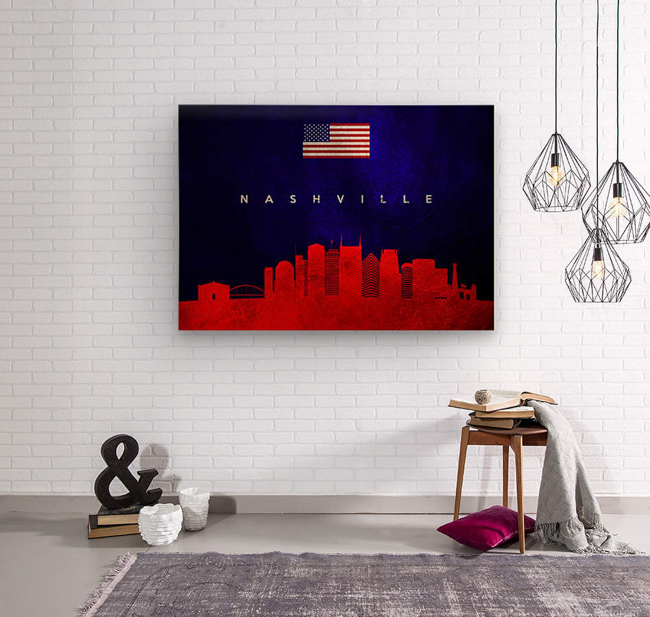 Nashville Tennessee Skyline Wall Art  Wood print