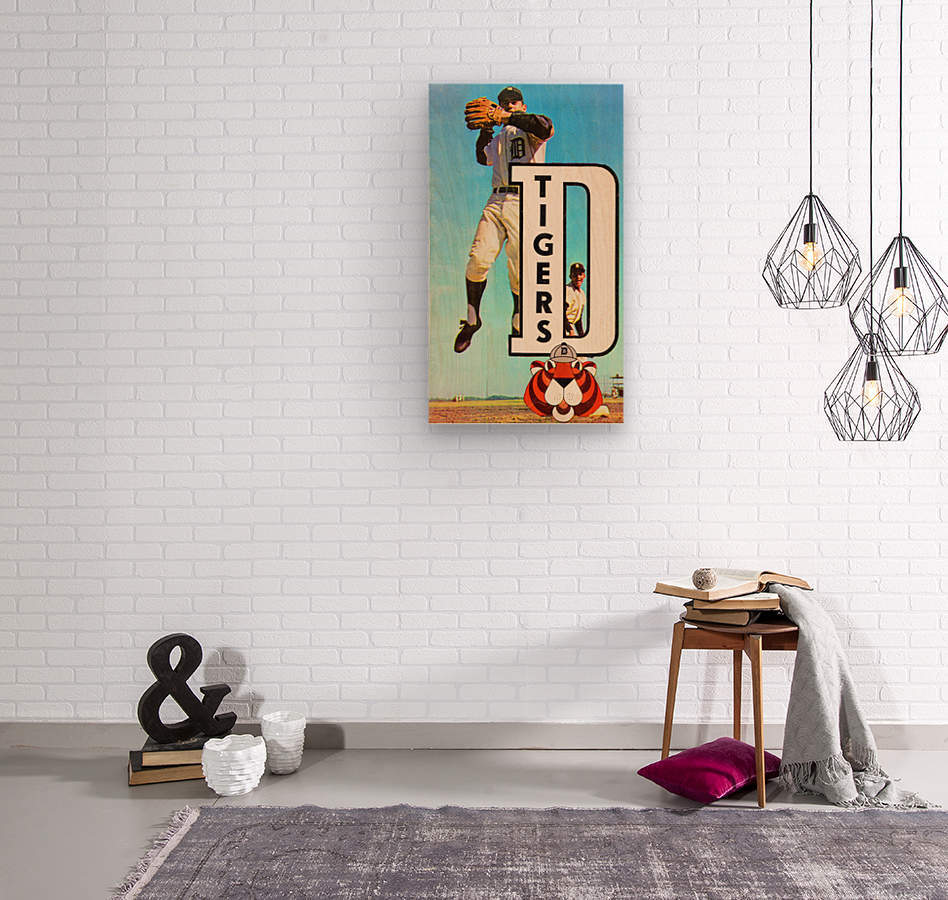 retro remix detroit tigers poster  Wood print