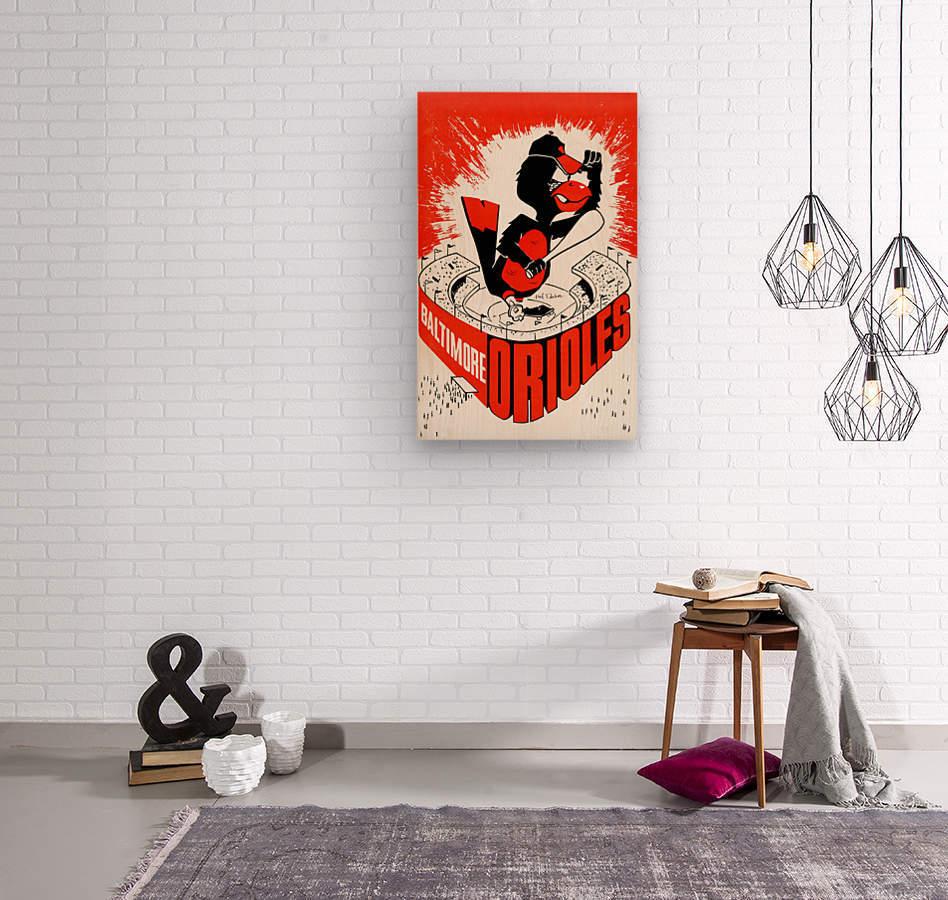 hal decker artist baltimore orioles poster  Wood print