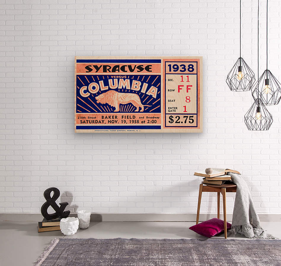 1938 Syracuse vs. Columbia  Wood print