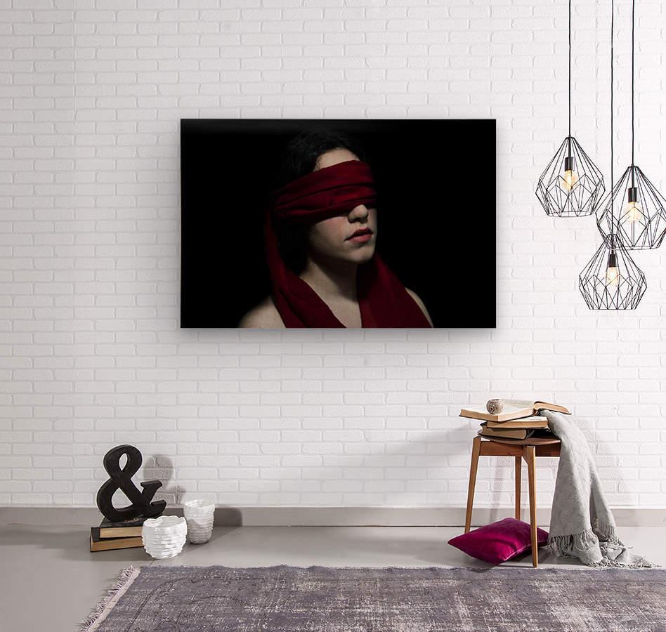 low key dark girl portrait  Wood print