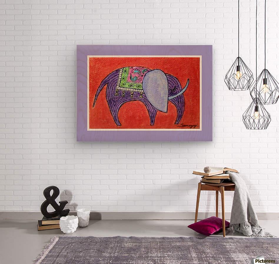 Pretty Pachyderm in frame  Wood print
