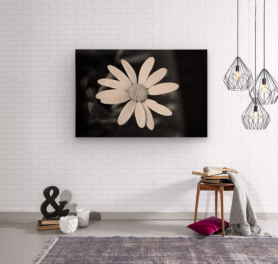 Beautifully White B&W  Wood print