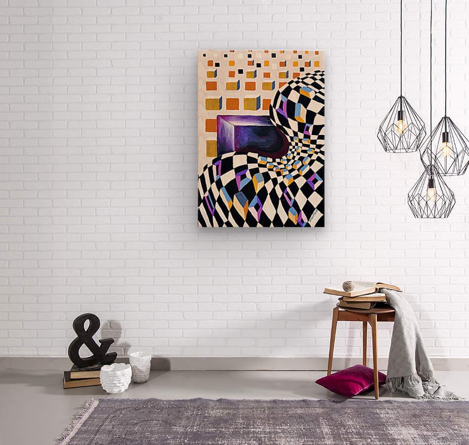 Retro Minimalism Abstract Chess Pattern  Wood print
