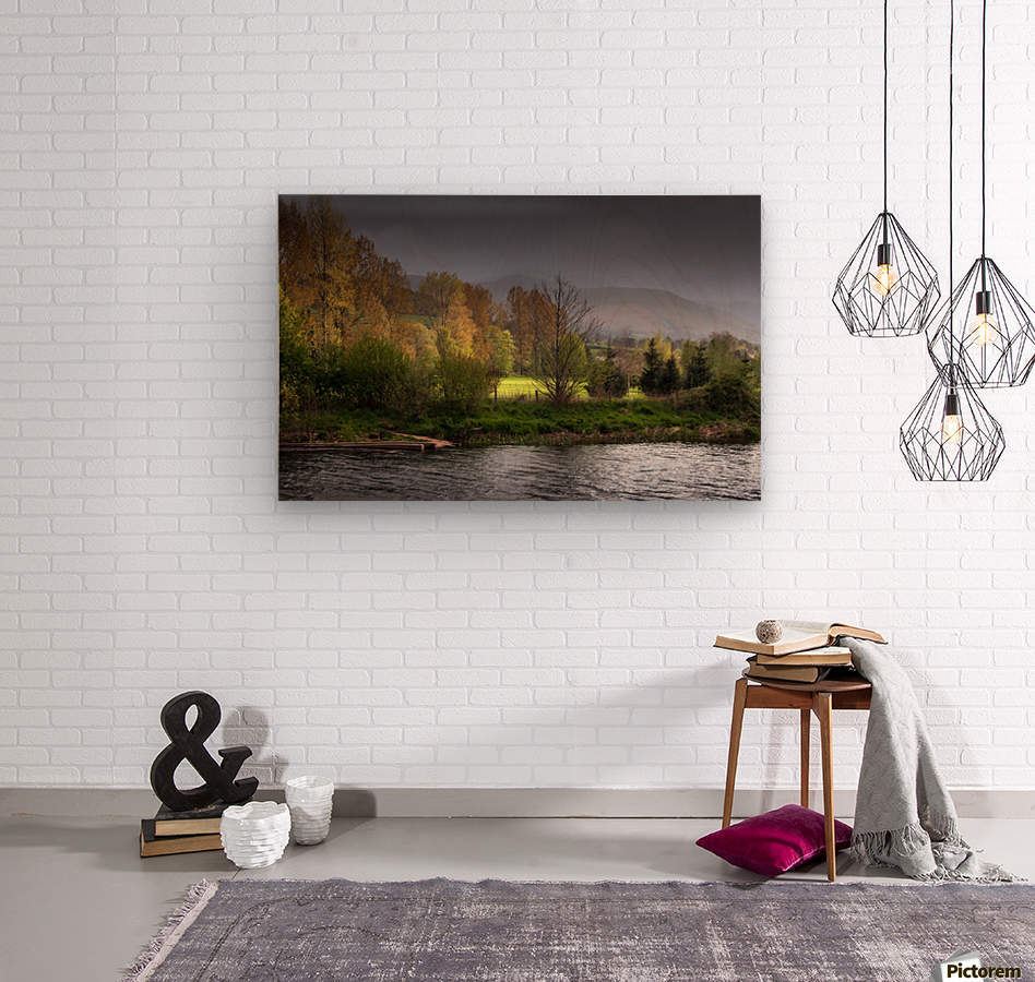 Brecon Beacons and river Usk  Wood print