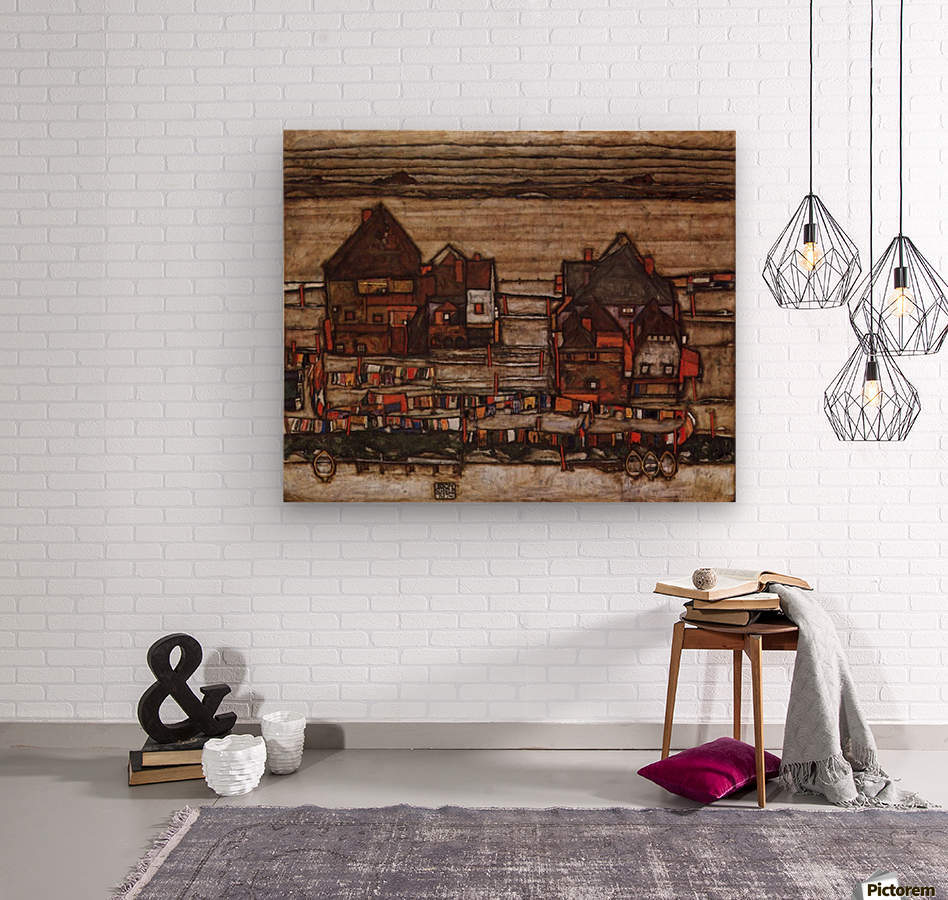 Houses with laundry lines and suburban by Schiele  Wood print