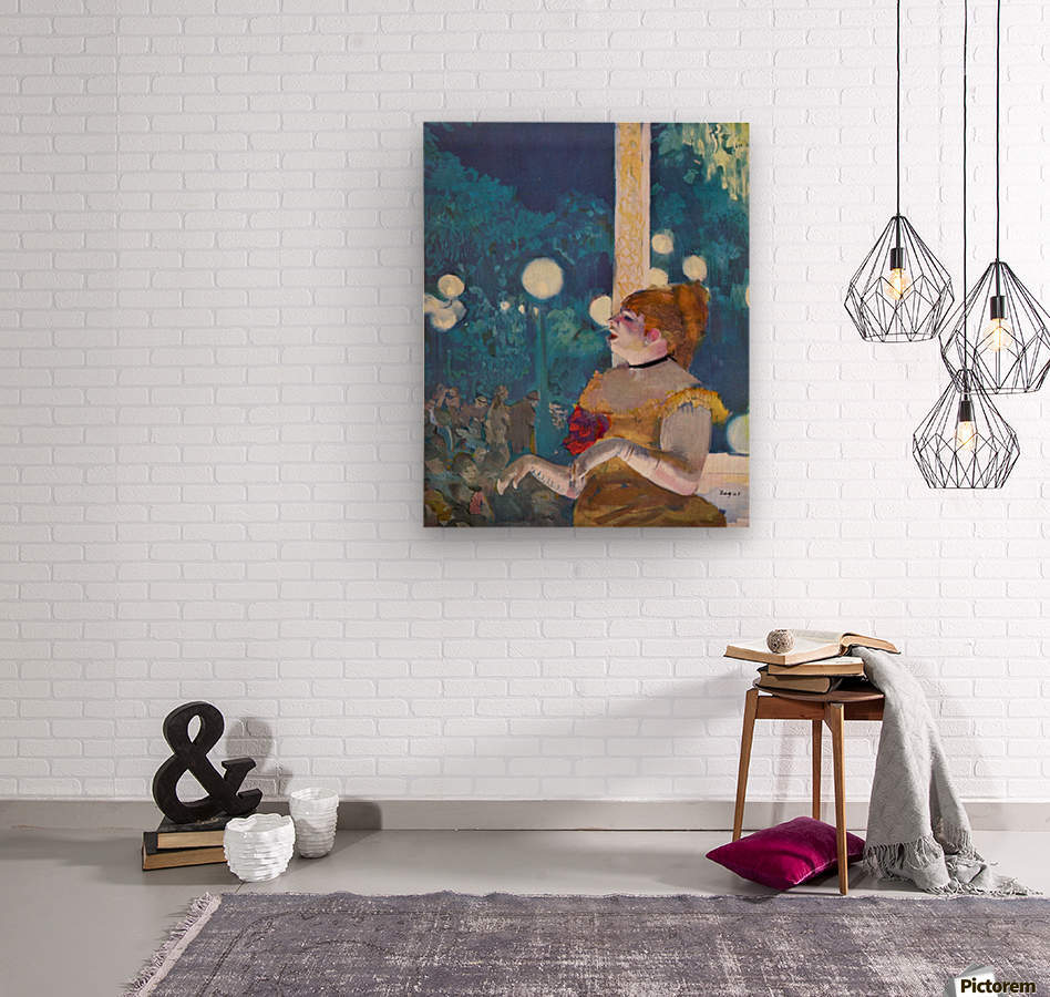 In concert Cafe - The Songs of the dog by Degas  Wood print