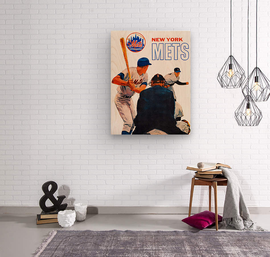retro new york mets poster  Wood print