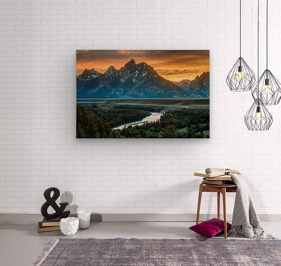 Sunset on Grand Teton and Snake River - Wyoming  Wood print