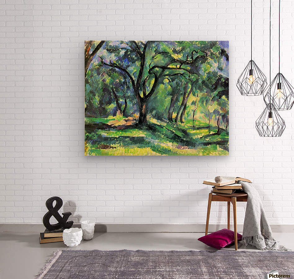 In the Woods by Cezanne  Wood print