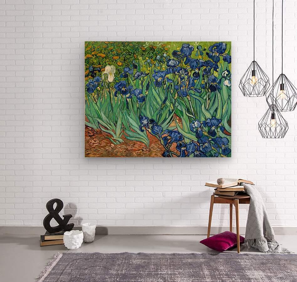 Irises by Van Gogh  Wood print