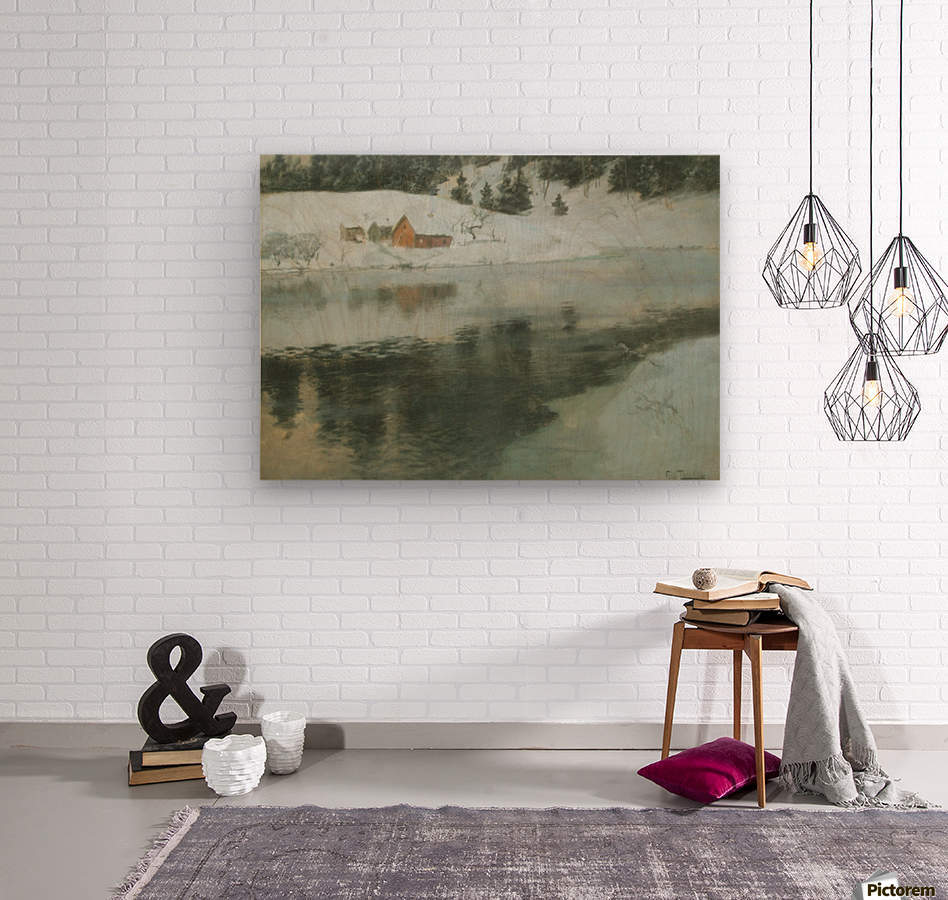 Winter landscape with river  Wood print