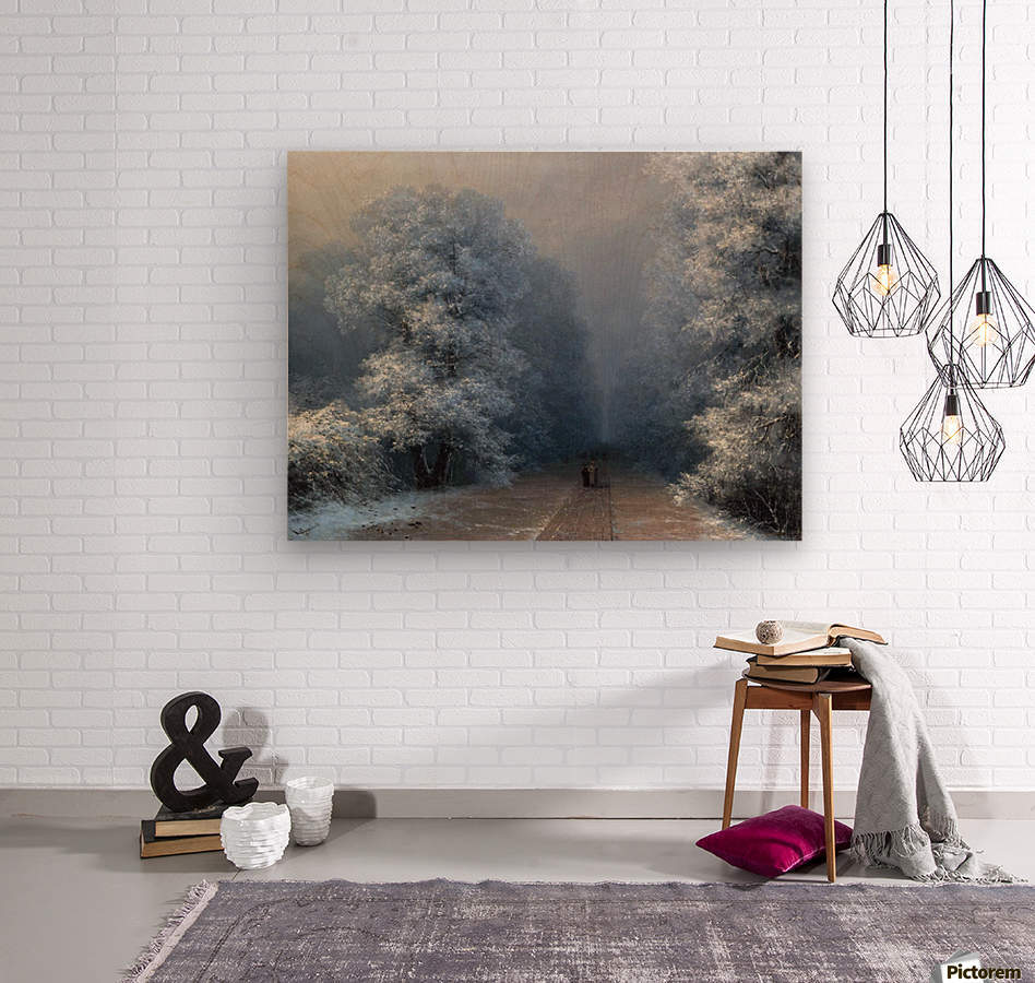 Winter landscape and alley  Wood print