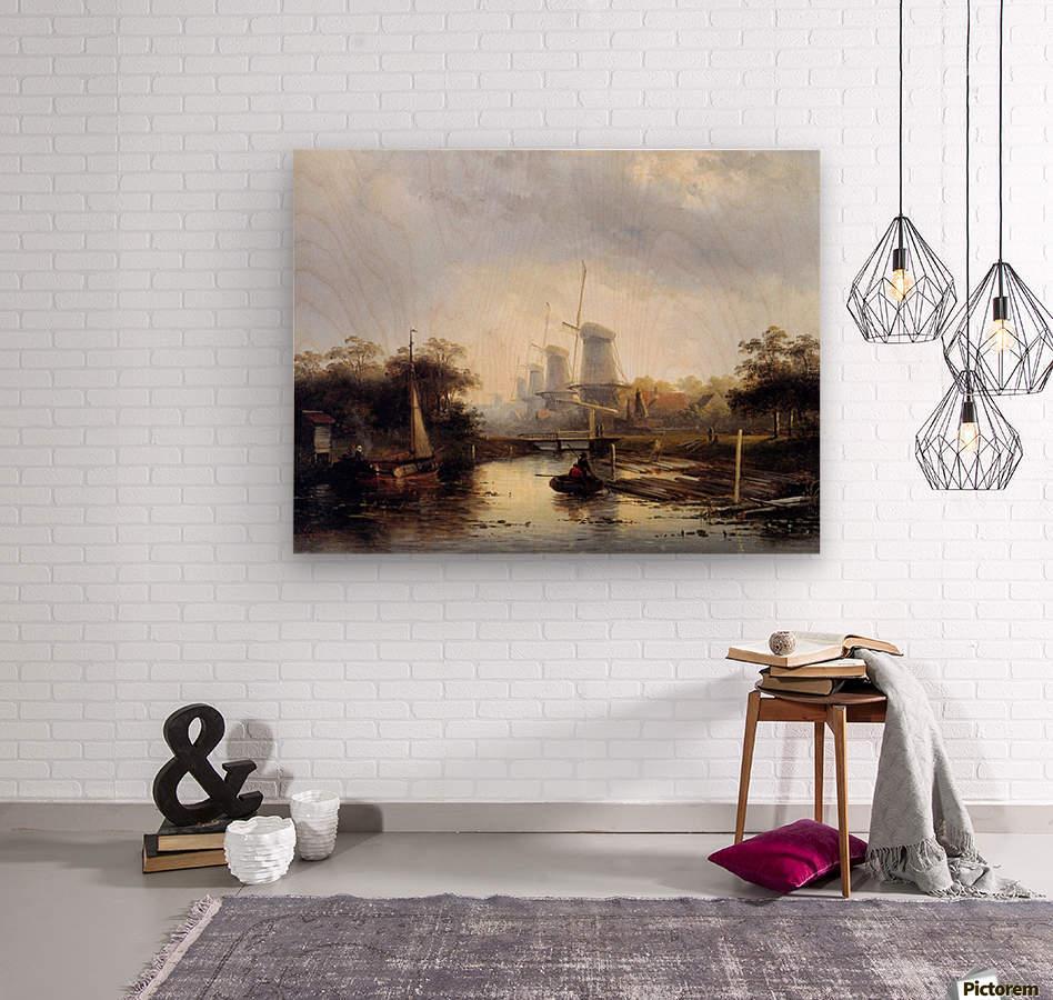 Summerlandscape with mills Sun  Wood print