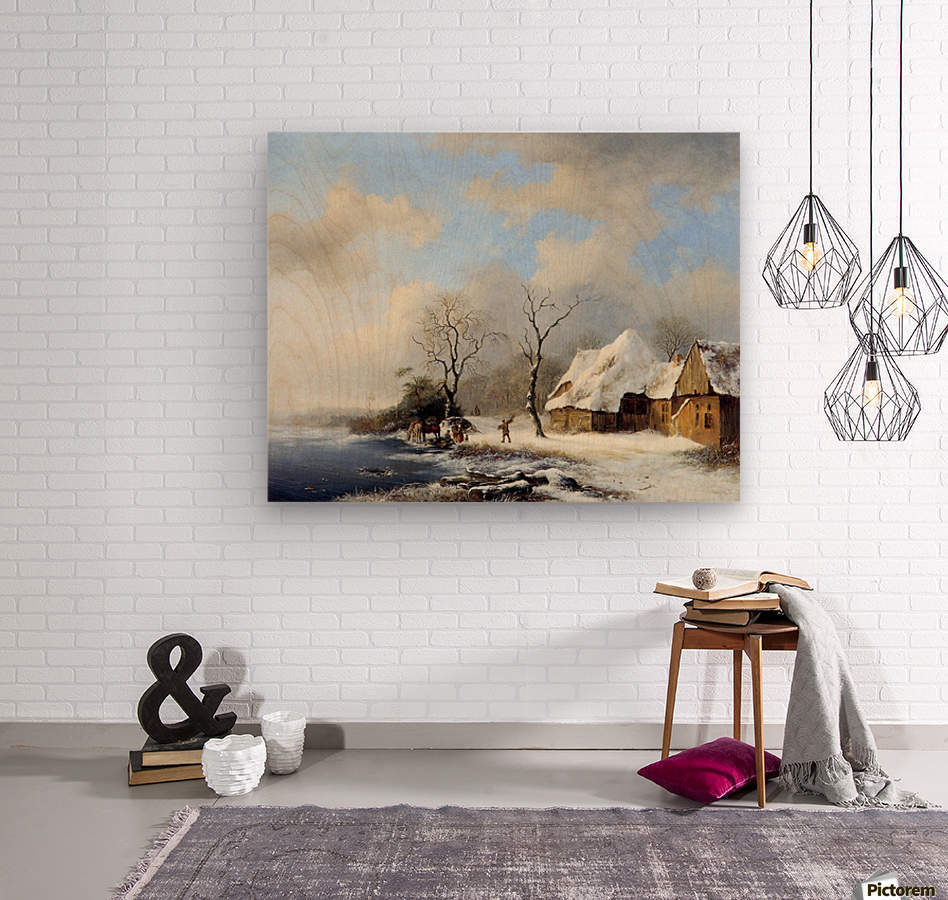 Winterlandscape Sun  Wood print