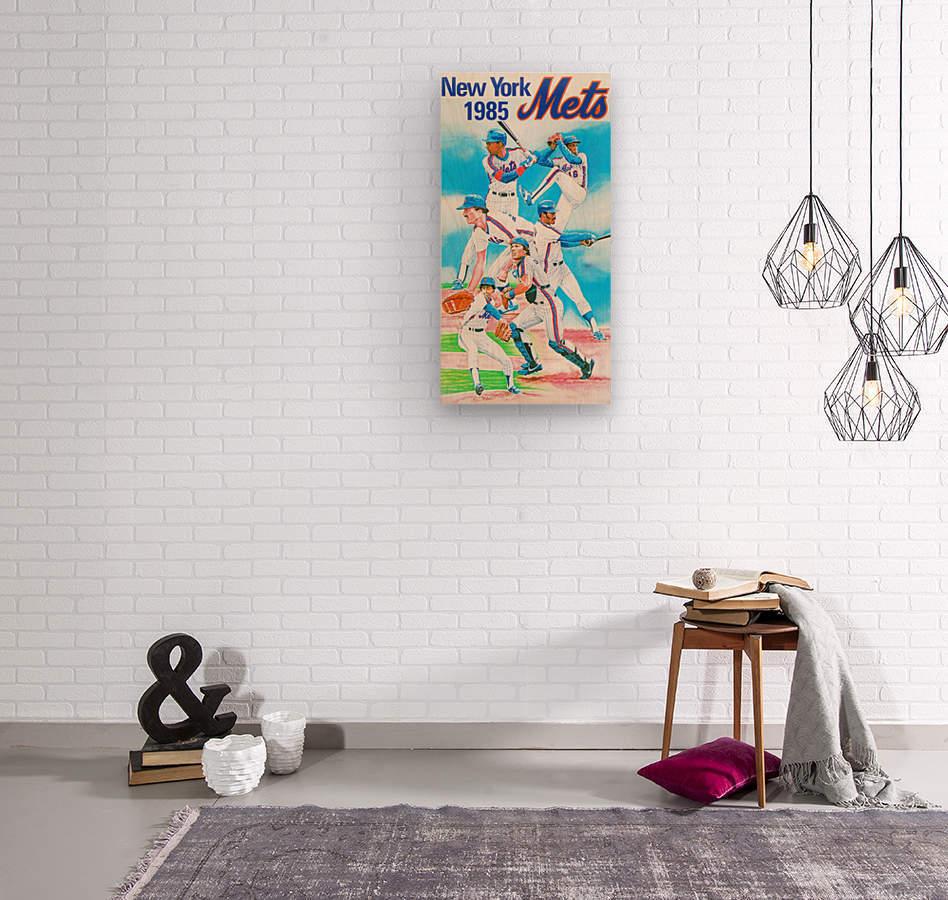 1985 new york mets baseball poster  Wood print