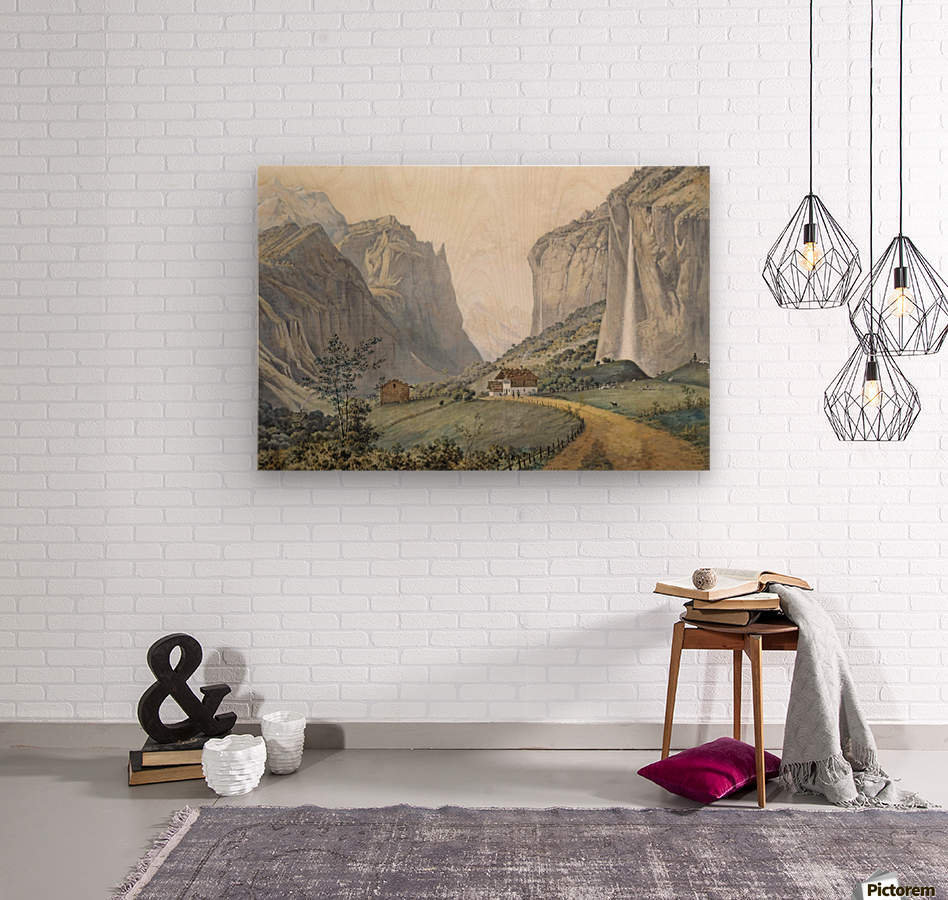 The Staubbach Falls by Lauterbrunnen in the Swiss Alps  Wood print