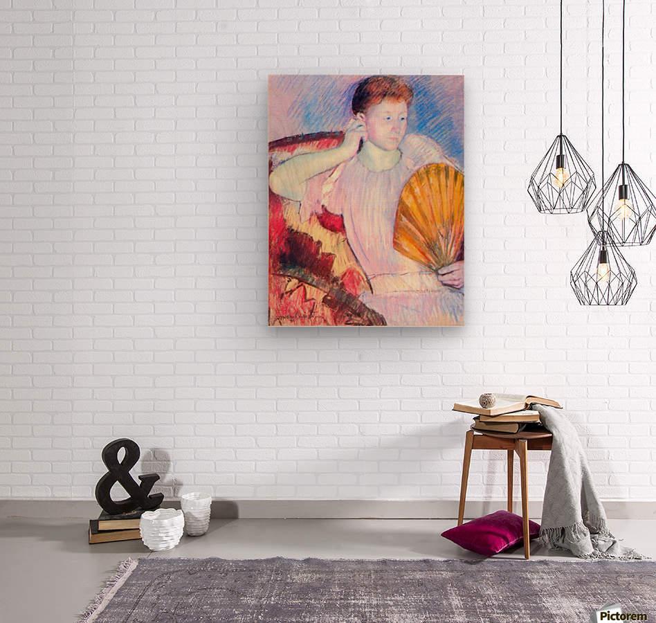 Lady with Fan by Cassatt  Wood print