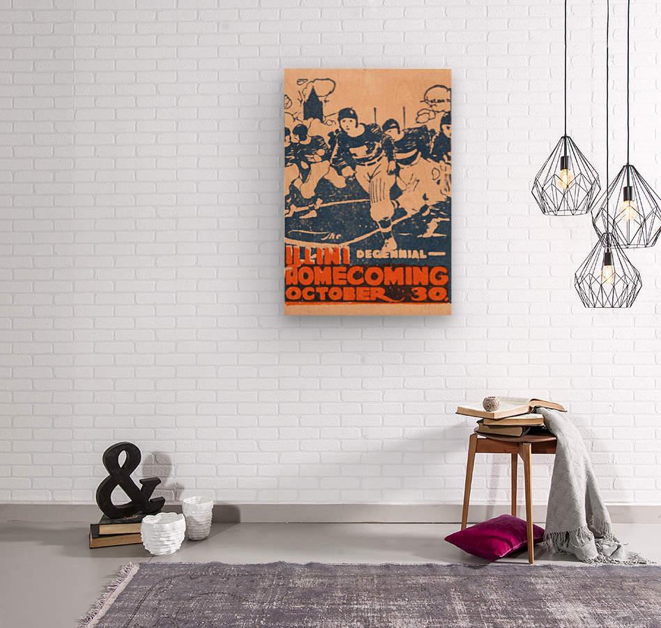 1920 illinois illini football homecoming art  Wood print