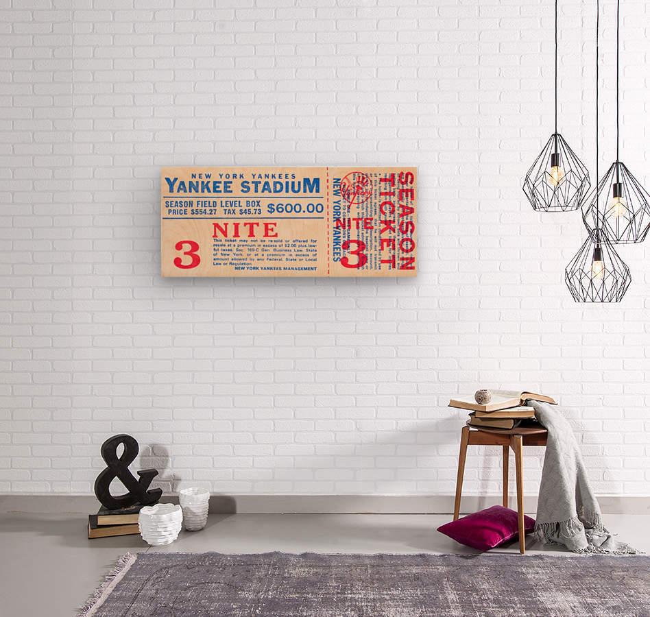 vintage yankees ticket stub metal sign  Wood print