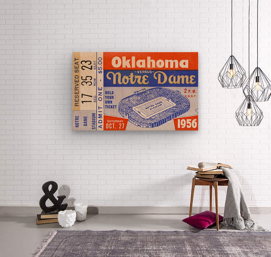1956 oklahoma notre dame college football ticket stub wall art  Wood print