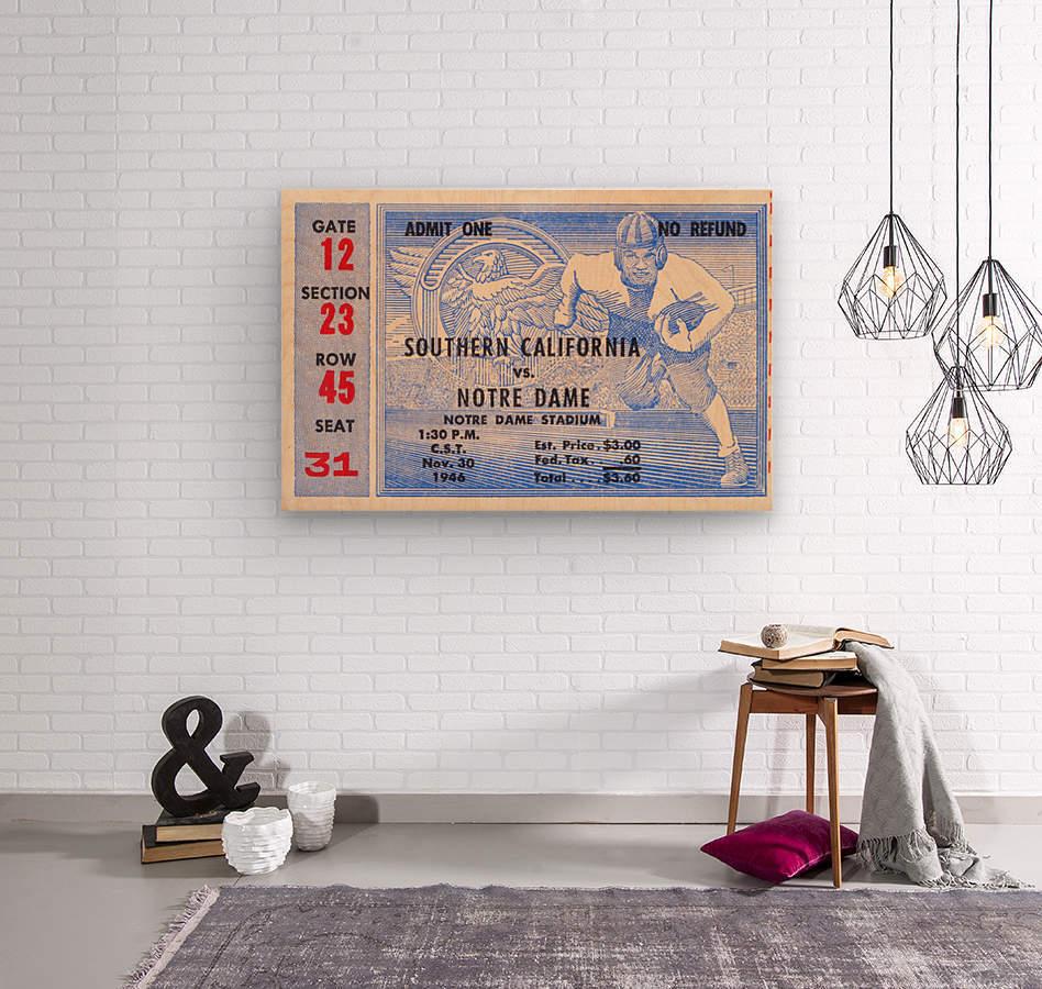 1946 notre dame southern california ticket stub framed prints  Wood print