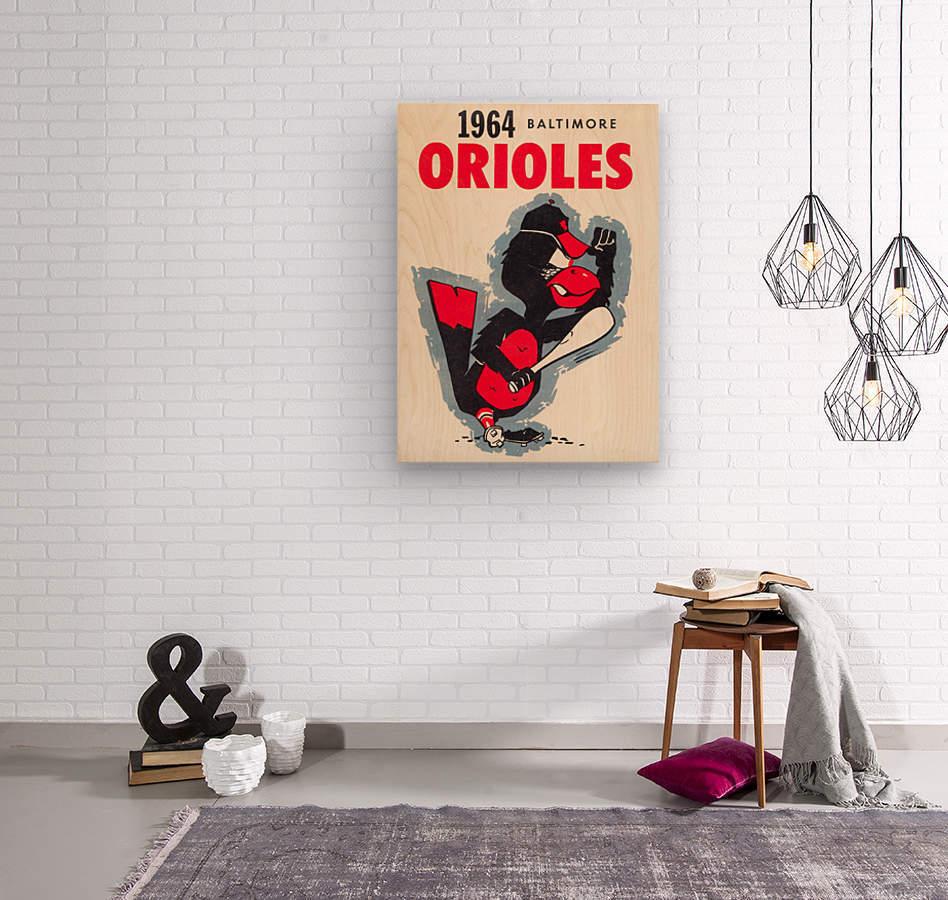 1964 baltimore orioles vintage baseball art poster  Wood print