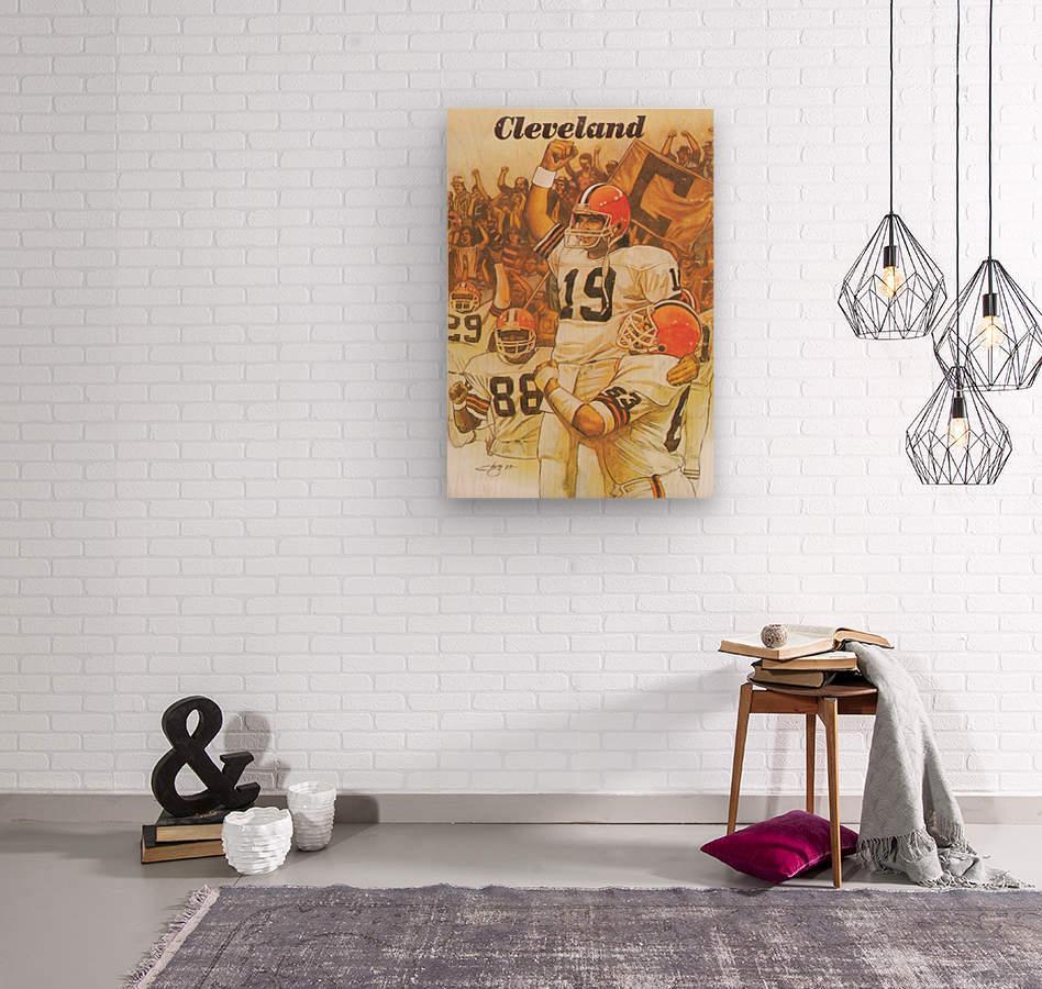 vintage cleveland browns nfl art poster  Wood print