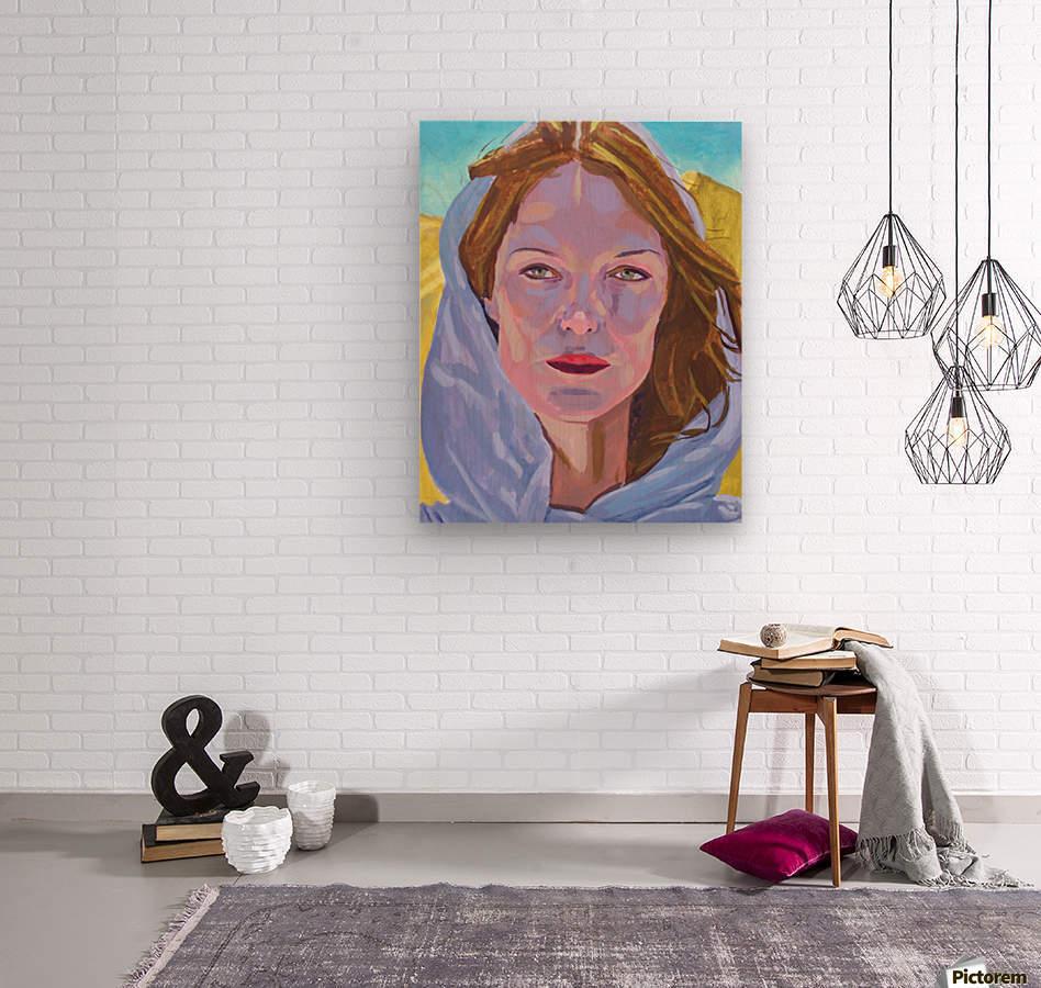 Beautiful blonde woman under a hard sun - Modern, Realism, Figurative, Portraiture, Acrylic  series  Wood print