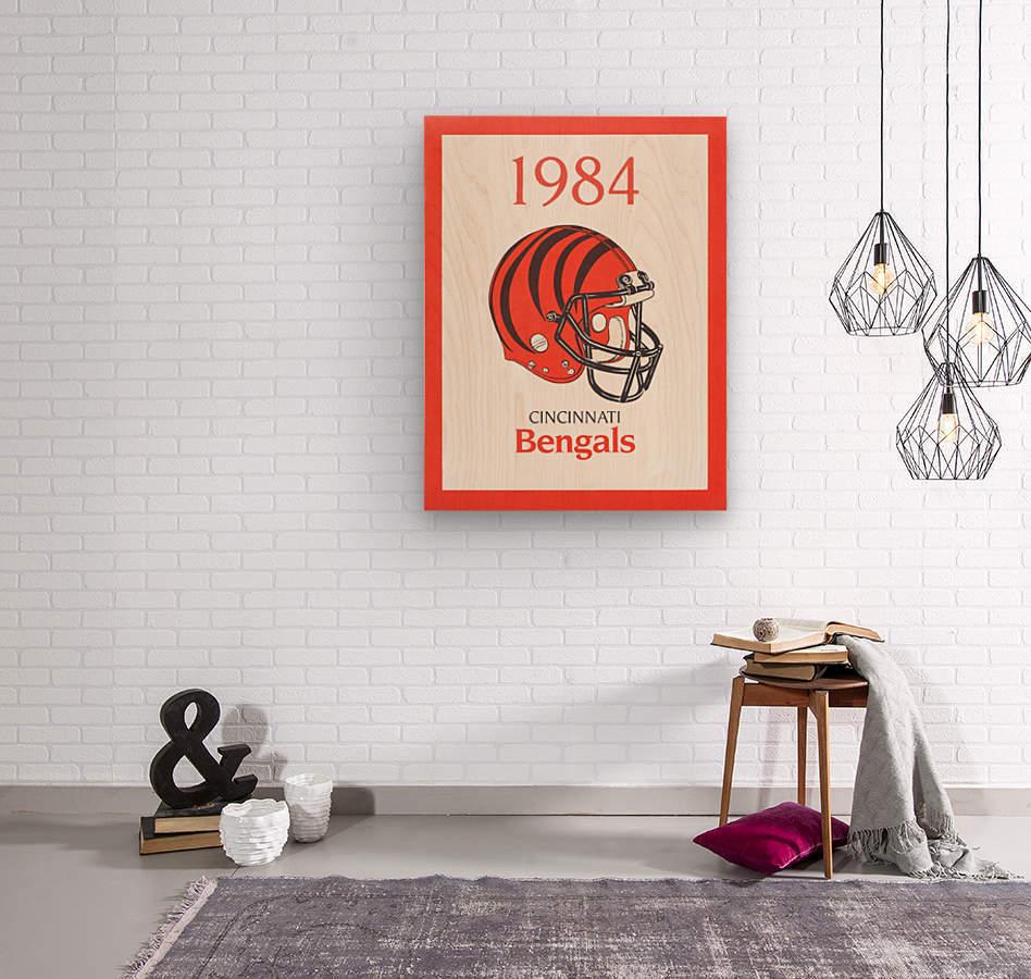 1984 cincinnati bengals retro helmet poster  Wood print