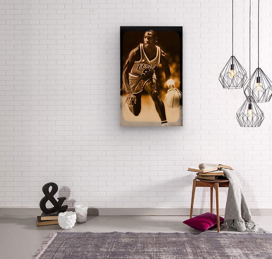 1984 michael jordan usa olympic basketball team  Wood print