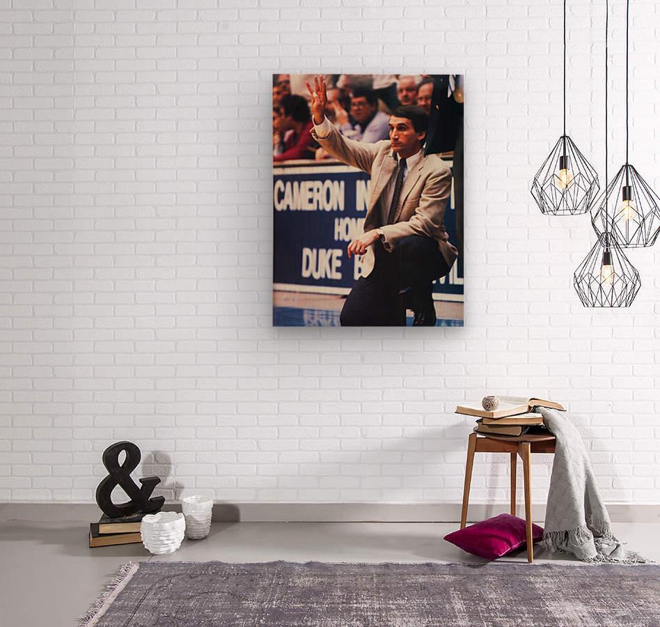 college basketball art coach k duke university basketball poster  Wood print