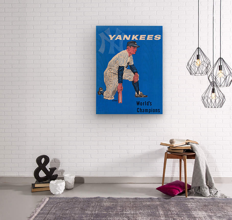 1958 New York Yankees Vintage Baseball Art  Wood print
