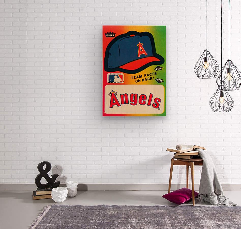 1983 fleer baseball sticker california angels poster  Wood print
