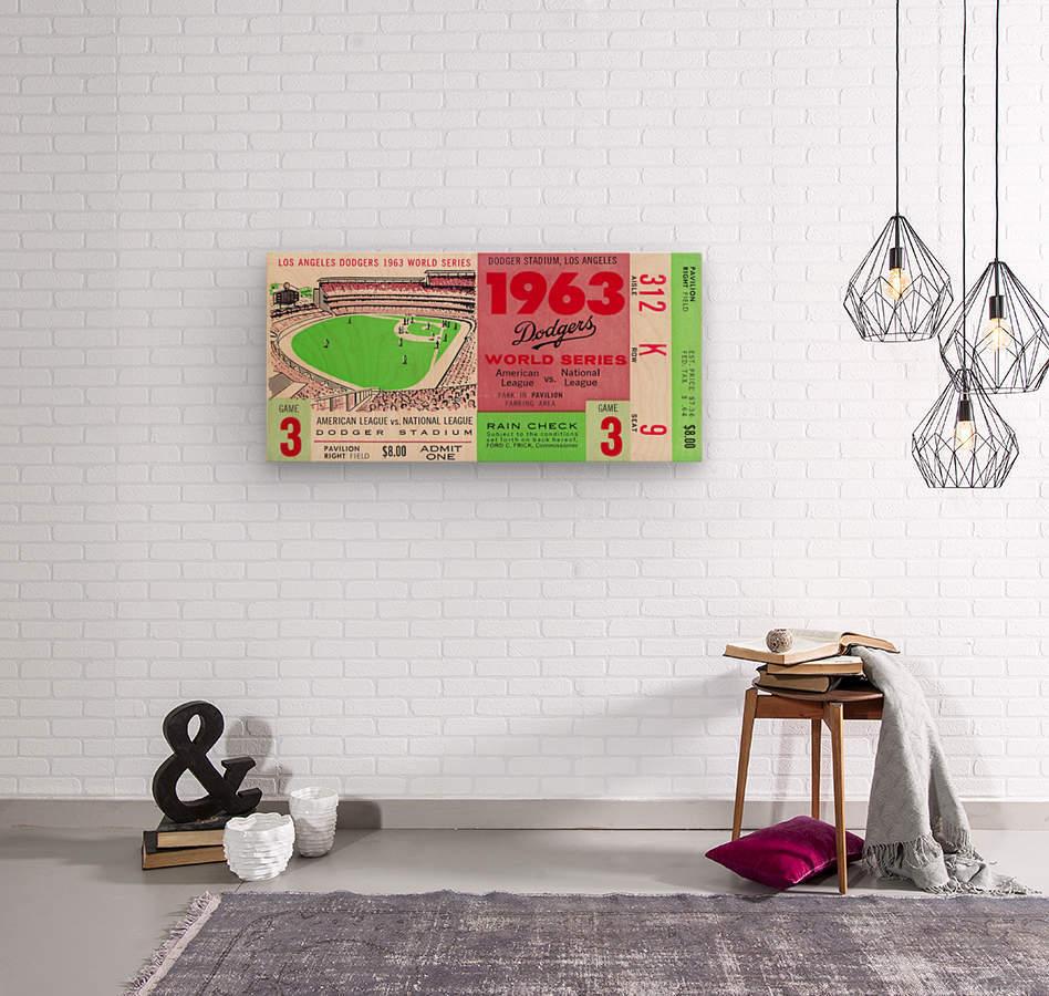 1963 world series ticket stub art la dodgers home decor  Wood print