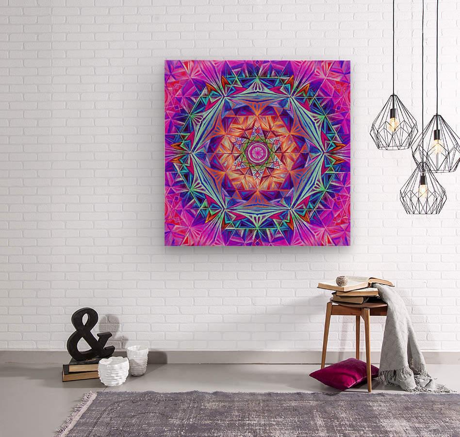 Sacred Geometry Mandala Handdrawing  Wood print
