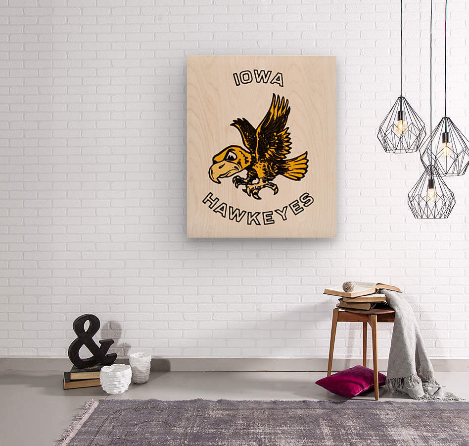 vintage iowa hawkeyes wood signs college mascot art  Wood print