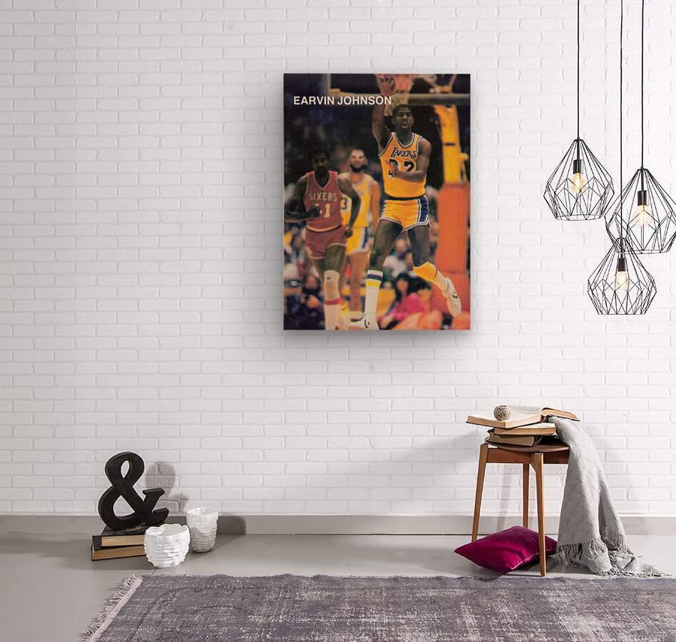1983 Magic Johnson LA Lakers Retro Poster  Wood print