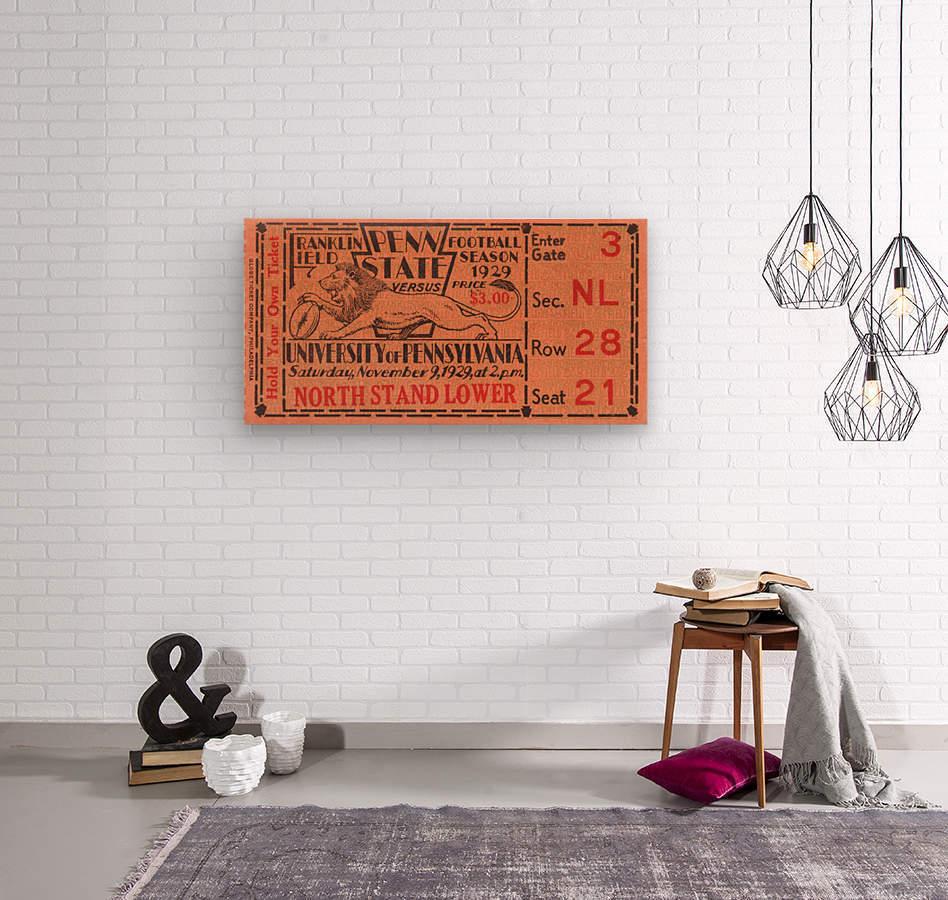 game room decor ideas 1929 pennsylvania penn state ticket canvas  Wood print