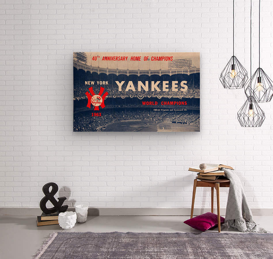 1963 new york yankees world champions scorecard canvas  Wood print