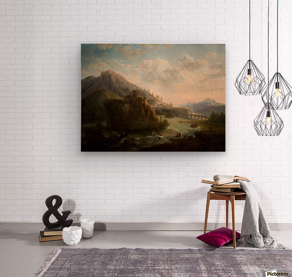 Fishing by the shore  Wood print