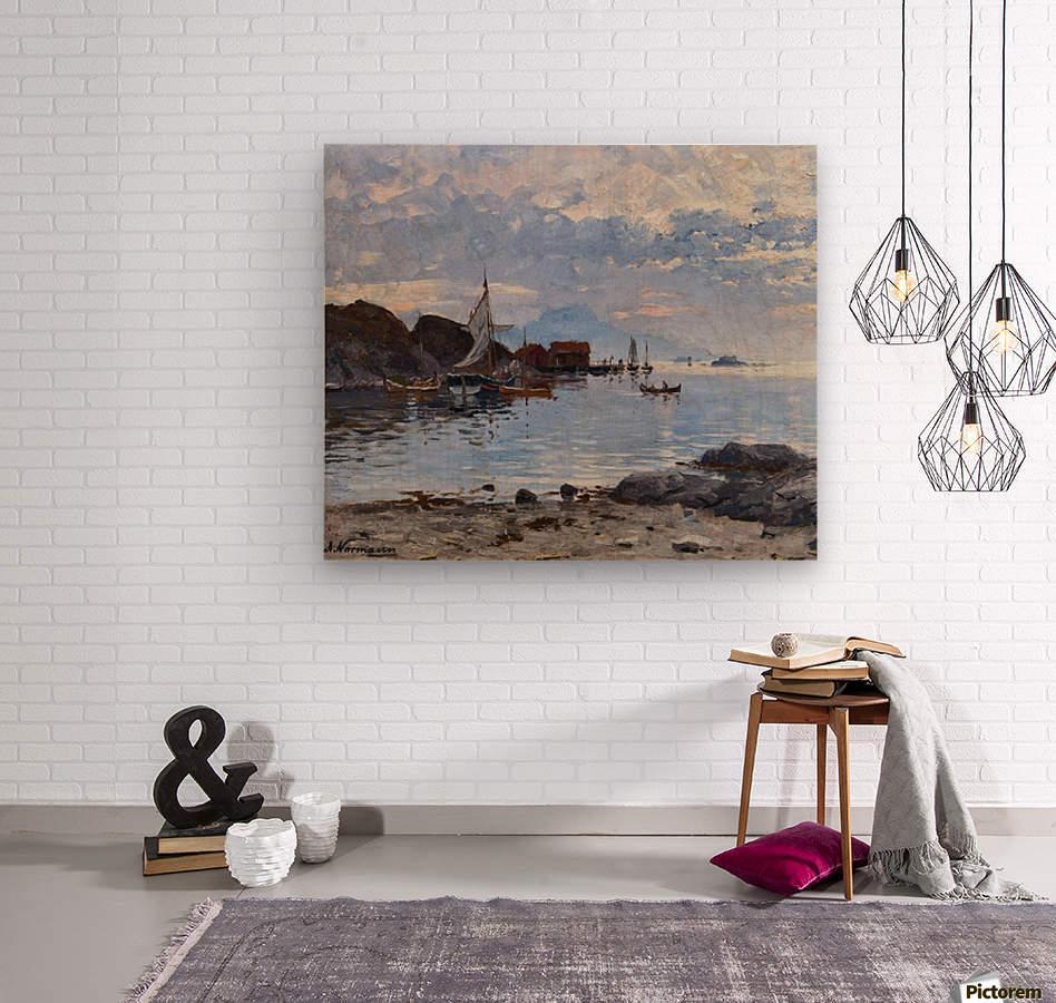 Fishing village in northern Norway  Wood print