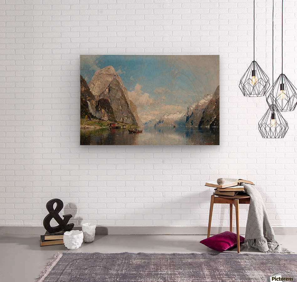 View of a Fjord  Wood print