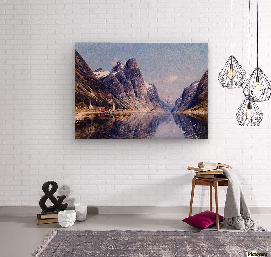 A Norwegian Fjord Scene  Wood print