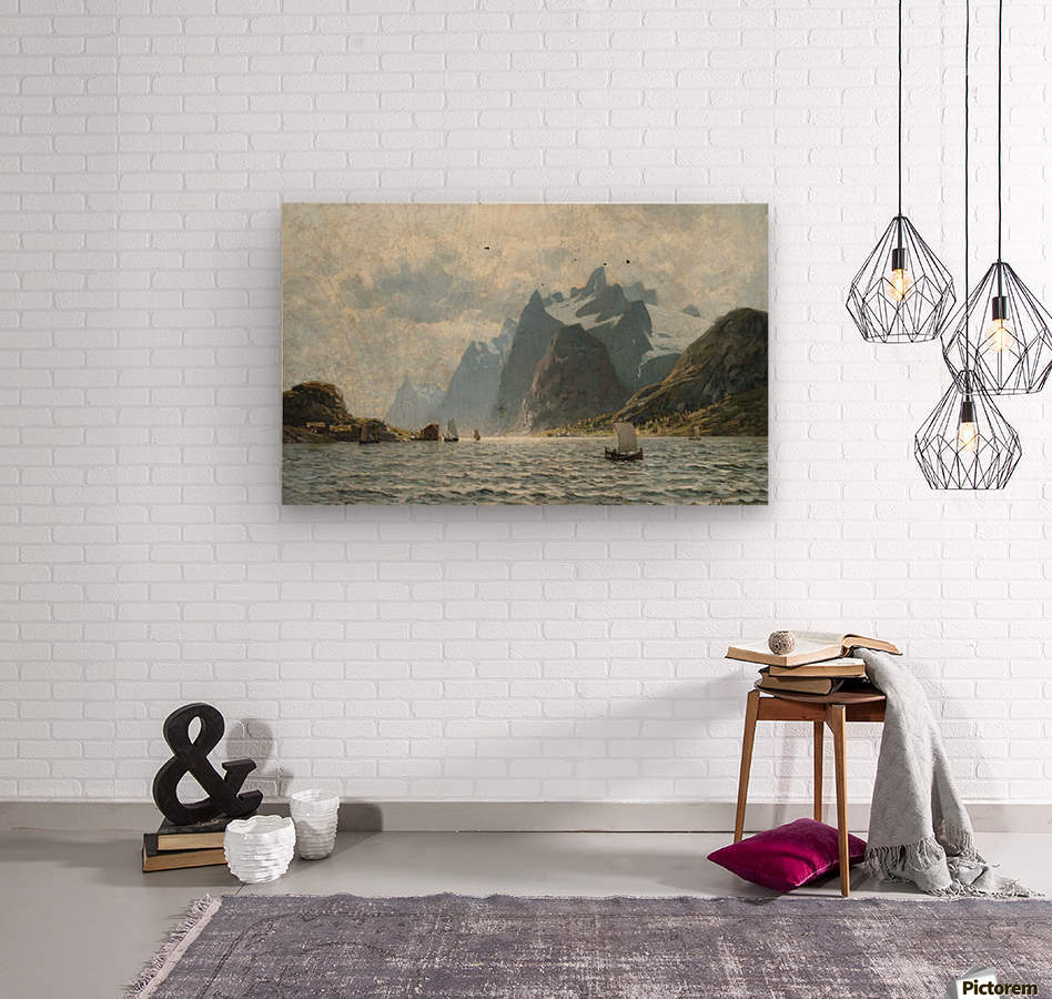 Fishing vessels on a Norwegian fjord  Wood print