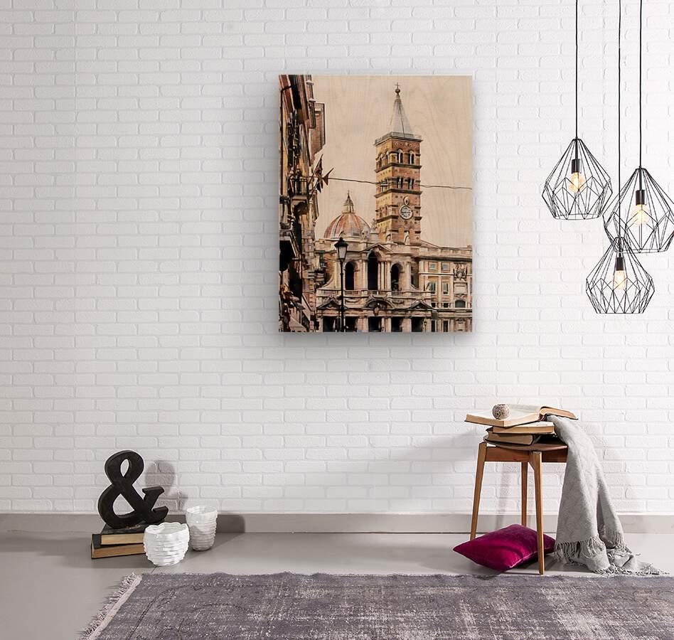 Street View Toward Basilica di Santa Maria Maggiore Rome  Wood print